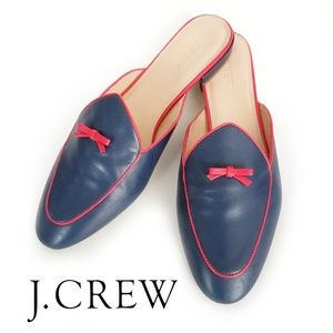 J. Crew Piped Loafer Mule Navy & Red Sz 10.5